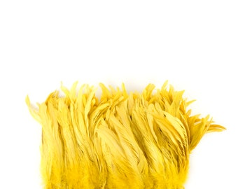 "BRIGHT YELLOW 8-10"" Bulk Bleach-Dyed Rooster Coque Tail Feathers Strung by the 1/4lb For Cultural Arts, Carnival & Costume Design ZUCKER®"