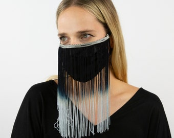 Fitted Ombre Fringe Mask, Black and Grey Reusable Face Mask, Washable, Halloween Covid Mask, Face Mask, Face Covering ZUCKER®