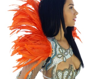 ORANGE Carnival Feather Collar - Samba Dancewear, Feather Back Piece, Costume Accessory - ZUCKER® Feather Place Original Designs