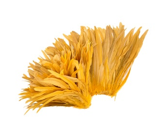 "GOLD 12-14"" Bulk Bleach-Dyed Rooster Coque Tail Feathers Strung by the 1/4lb For Cultural Arts, Carnival & Costume Design ZUCKER®"