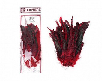 "RED Dyed over Natural Rooster Feathers 8-10"" 25pc/pkg For Arts & Crafts projects, DIY, Millinery, Costume Design and more ZUCKER®"