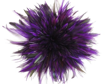 "Rooster Feathers, 4-6"" REGAL Purple Rooster Badger Saddle Strung Craft Feathers ZUCKER®"
