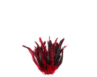 """RED Dyed Rooster Feathers, 8-10"""" Barred Rooster Feathers, 25pcs Rooster Coque Tails For Arts & Crafts,DIY, Millinery,Costume Design ZUCKER®"""