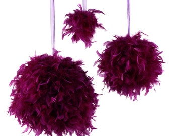 "Large PURPLE Decorative Chandelle Feather Pom Poms 18"" - Unique Event Decor For Birthday Parties, Bridal and Baby Showers  ZUCKER®"