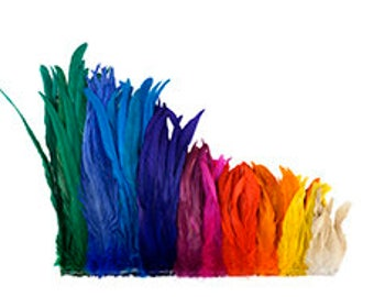 "16-18"" inch Bulk Bleach and Dyed Rooster Coque Tail Feathers - Strung 1/4lb ZUCKER®"