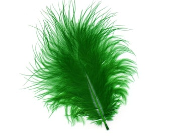 Turkey Feathers, Kelly Green Loose Turkey Marabou Feathers, Short and Soft Fluffy Down, Craft and Fly Fishing Supply Feathers ZUCKER®