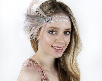 Great Gatsby Roaring 20's Mardi Gras Feather Headband for Costume, Theme and Halloween Parties HBD1924 ZUCKER®