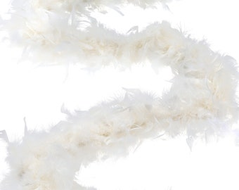 60 Gram Chandelle Feather Boa, Ivory 2 Yards For Party Favors, Kids Craft & Dress Up, Dancing, Wedding, Halloween, Costume ZUCKER®