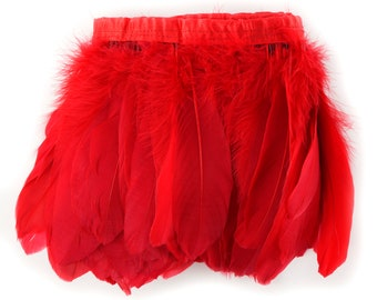 RED 1 Yard Parried Goose Pallet Feather Fringe - For DIY Art Crafts, Carnival Costume, Cosplay, Millinery & Fashion Design ZUCKER®