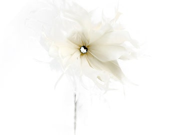 White Feather Dahlia Flower - Decorative Feather Flower Stem for Event and Home Decor ZUCKER®