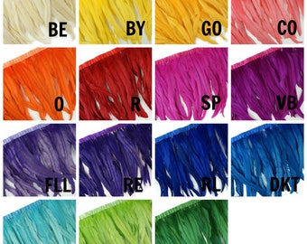 "12-14"" Dyed Coque Feather Fringe 1YD - For DIY Art Crafts, Carnival Costume, Cosplay, Millinery & Fashion Design Fringe ZUCKER®"