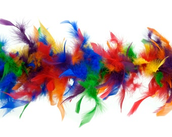 40 Gram Chandelle Feather Boa Classic RAINBOW Mix 2 Yards For Party Favors, Kids Craft, Dress Up, Dancing, Halloween, Costume Zucker®