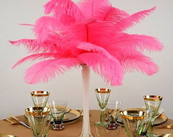 """Ostrich Feathers 13-16"""" PINK ORIENT - For Feather Centerpieces, Party Decor, Millinery, Carnival, Fashion & Costume ZUCKER®"""