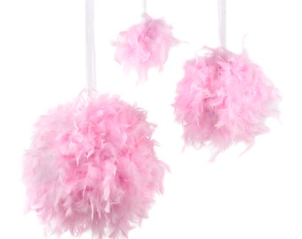 "Large CANDY PINK Decorative Chandelle Feather Pom Poms 18"" - Unique Event Decor For Birthday Parties, Bridal and Baby Showers  ZUCKER®"