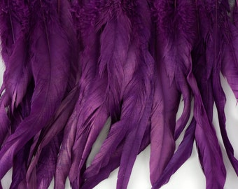 "12-14"" PURPLE Dyed Coque Feather Fringe 1YD - For DIY Art Crafts, Carnival Costume, Cosplay, Millinery & Fashion Design Fringe ZUCKER®"