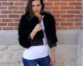 Marabou Feather Jacket with Faux Leather Detail BLACK Small/Medium - Fashion Trends & Special Events ZUCKER® Original Designs