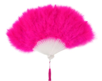 SHOCKING PINK Marabou Feather Fans - Photobooth Accessories, Perfect for Great Gatsby, Roaring 20s Theme Costume Parties & Halloween ZUCKER®