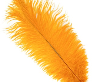 """MARIGOLD Bulk 13-16"""" Ostrich Feathers 1/4LB - For Feather Centerpieces,Party Decor,Millinery,Carnival,Fashion and Costume Design ZUCKER®"""