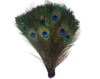 "PURPLE 100pcs Bulk 8-15"" Stem Dyed Peacock Tail Feathers - For Arts & Crafts, Floral Decor, Millinery and Jewelry Design  ZUCKER®"