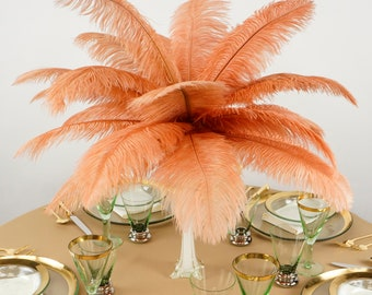 """Ostrich Feathers 13-16"""" Peach CINNAMON - For Feather Centerpieces, Party Decor, Millinery, Carnival, Fashion & Costume ZUCKER®"""