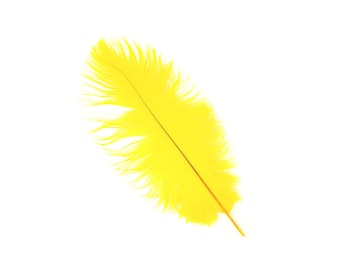 "12 YELLOW 13-16"" Ostrich Feathers - Perfect for Medium Feather Centerpieces & Bouquets, Party Decor, Millinery, Costume Design ZUCKER®"
