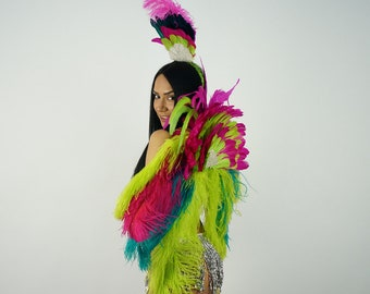 Tropical Punch Carnival & Samba Feather Costume - ZUCKER™ Feather Place Original Designs - Unique Premium Fantasy Costume Dance Wear
