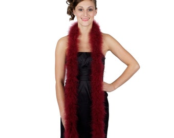BURGUNDY Marabou Feather Boas 6FT - For DIY Art and Crafts, Carnival, Fashion, Halloween Costume Design, Home Decor and more ZUCKER®
