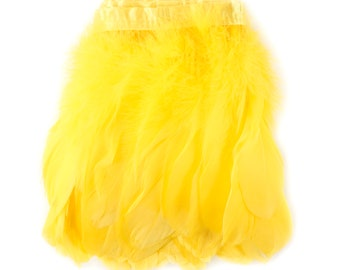YELLOW 1 Yard Parried Goose Pallet Feather Fringe - For DIY Art Crafts, Carnival Costume, Cosplay, Millinery & Fashion Design ZUCKER®