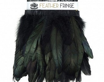 "1 Yard Dyed BLACK Iridescent Coque Feather Fringe 4-6""- Fringe for Costume, Fashion & Millinery Design  ZUCKER®"
