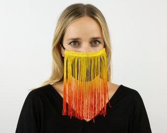 Fitted Ombre Fringe Mask, Fire Yellow, Gold & Orange Reusable Face Mask, Washable, Halloween Covid Mask, Face Mask, Face Covering ZUCKER®