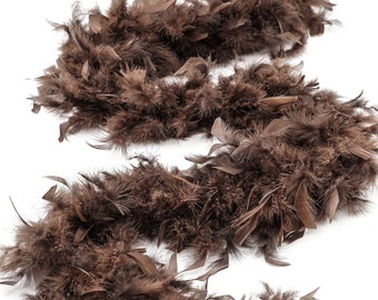 60 Gram Chandelle Feather Boa, Brown 2 Yards For Party Favors, Kids Craft & Dress Up, Dancing, Wedding, Halloween, Costume ZUCKER®