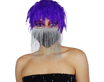 Disco Fitted Metallic Silver Fringe Mask with REGAL Purple Feather Wig Halloween COVID Mask, ZUCKER® Limited Edition