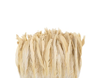 """Rooster Tail Feathers, BEIGE 8-10"""" Strung Bleach Dyed Coque Tails, Wholesale Feathers Bulk ZUCKER®"""