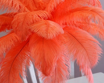 "Ostrich Feathers 17-20"" HOT Orange, 1 to 25 pc, Ostrich Plumes, Carnival Samba Feathers, Ostrich Drabs, Mardi Gras, Centerpiece, ZUCKER® USA"