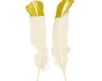 White & Gold Metallic Tipped Turkey Round Feathers 2 pieces For Cultural Arts and Crafts, Carnival and Costume Design ZUCKER®