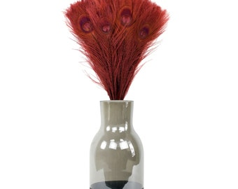 Burgundy Peacock Feathers & Vase Set, Smoke Gray with Black Personalized Chalkboard Bottom, Peacock Feather Centerpiece w/ Glass Jug ZUCKER®
