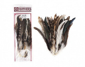 "NATURAL Rooster Feathers 8-10"" 25pc/pkg For Arts & Crafts projects, DIY, Millinery, Costume Design and more ZUCKER®"