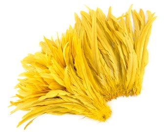"""Rooster Tail Feathers, BRIGHT YELLOW 12-14"""" Strung Bleach Dyed Coque Tails, Wholesale Feathers Bulk ZUCKER®"""
