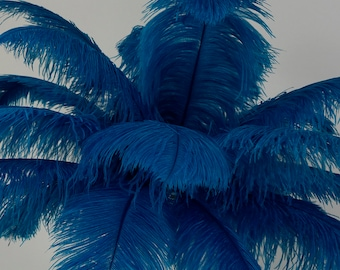 "Large Ostrich Feathers 25 Pieces 17-25"" Prime Ostrich Femina Wing Plumes Dark TURQUOISE, Wedding Centerpiece, Carnival Feathers ZUCKER® USA"