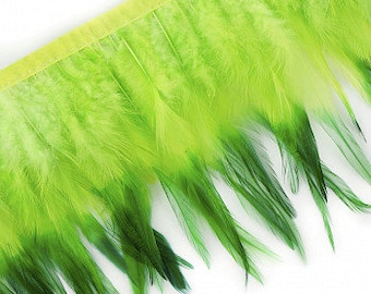 "1 Yard GREEN Tipped & Dyed Saddle Feather Fringe approx 6-8"" - For Cultural Arts, Carnival, Costume, Fashion, Millinery Design  ZUCKER®"