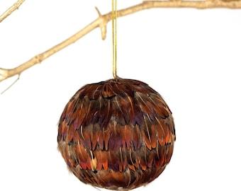 "Decorative Feather Ornament - 4"" Natural Pheasant Ball - Christmas Decor, Unique Holiday Decorative feather ornament ZUCKER®"