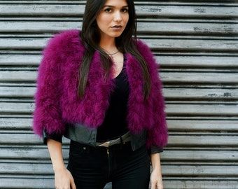 Marabou Feather Jacket with Faux Leather Detail Small-Medium, BOYSENBERRY - Fashion Trends & Special Events ZUCKER® Original Designs