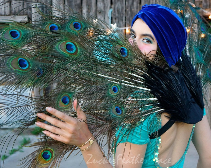 Featured listing image: Fantasy Peacock Feather Wings - ZUCKER™ Feather Place Original Designs - Unique Premium Fantasy Feather Costume, Cosplay & Carnival Wings