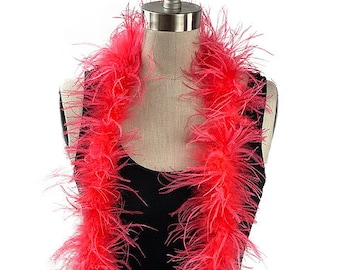 Ostrich Feather Boa, Coral 2 Ply Value Ostrich Boa Halloween Costume, Dance and Fashion Design ZUCKER® Dyed & Sanitized in the USA
