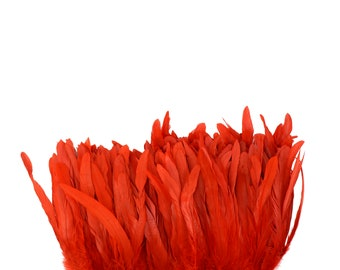 "RED 8-10"" Bulk Bleach-Dyed Rooster Coque Tail Feathers Strung by the 1/4lb For Cultural Arts, Carnival & Costume Design ZUCKER®"