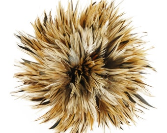 "Rooster Feathers, 4-6"" NATURAL Rooster Badger Saddle Strung Craft Feathers ZUCKER®"