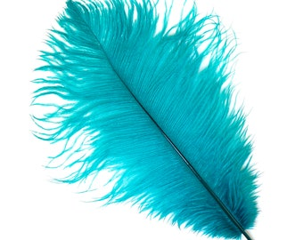 "DARK AQUA Bulk 13-16"" Ostrich Feathers 1/4LB - For Feather Centerpieces,Party Decor,Millinery,Carnival,Fashion and Costume Design ZUCKER®"