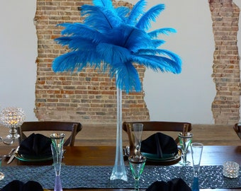 TURQUOISE Ostrich Feather Centerpiece Sets CLEAR w/Eiffel Tower Vase For Great Gatsby Party, Special Event & Wedding Reception Decor ZUCKER®