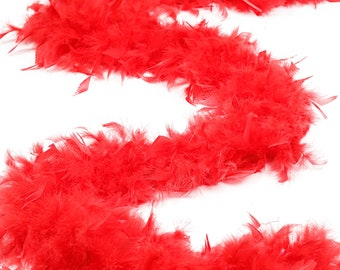 60 Gram Chandelle Feather Boa, Red 2 Yards For Party Favors, Kids Craft & Dress Up, Dancing, Wedding, Halloween, Costume ZUCKER®