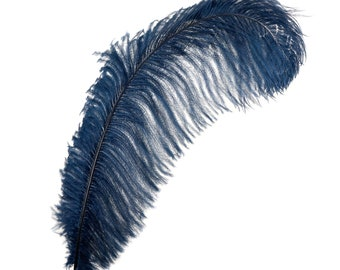"12 NAVY 17""+ Ostrich Feathers 1DZ - Perfect for Large Feather Centerpieces, Party Decor, Millinery, Carnival & Costume Design ZUCKER®"